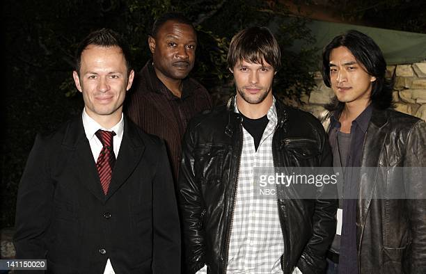 'KNIGHT RIDER' Movie Premiere Party Pictured Actors Greg Ellis Kevin Dunigan Justin Bruening and Jack Yang attend the 'Knight Rider' premiere party...