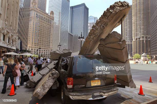 A movie prop sits along Wacker Drive during the filming of the movie Transformers 3 on July 16 2010 in Chicago Illinois Sections of Michigan Avenue...