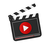 Movie Slate with Play Button isolated on white background. 3D render
