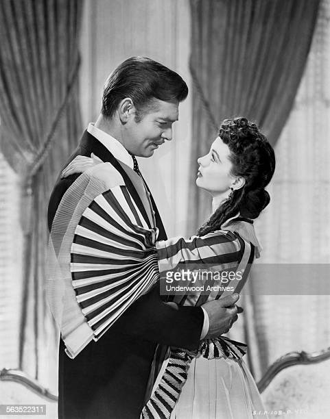 Movie stars Vivien Leigh and Clark Gable in a scene from the film 'Gone with the Wind' Hollywood California 1939