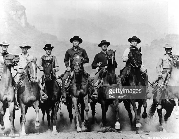 A movie still from The Magnificent Seven features the seven principal characters on horseback The actors and their characters are Steve McQueen as...