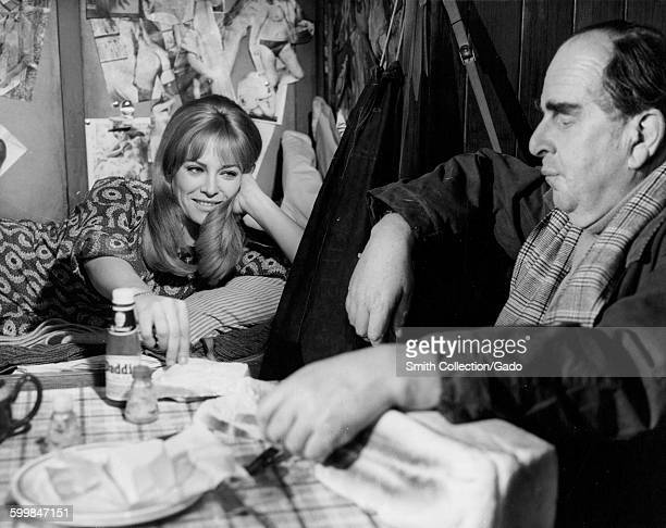 Movie still of Robert Morley and Nathalie Delon during the film When Eight Bells Toll 1971