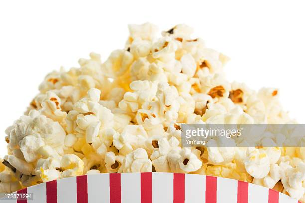 Movie Theater Popcorn Box, Fresh Snack Food on White Background