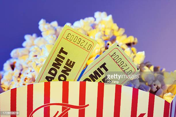 Movie Ticket Stubs and Popcorn Snack for Entertainment Date Night