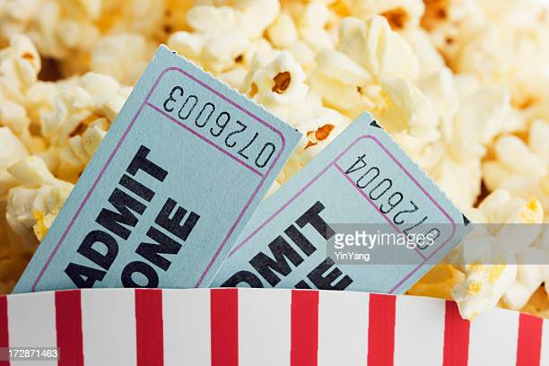 Movie Ticket Stubs and Popcorn Snack for Film Entertainment Event