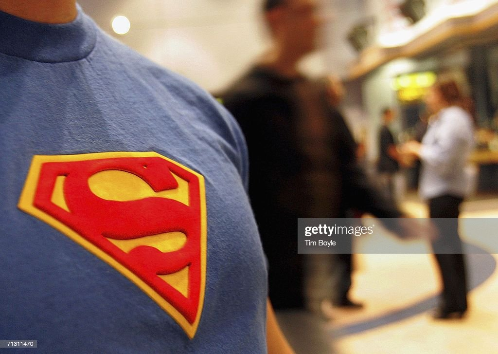 A moviegoer wearing his Superman tee-shirt is seen in the lobby prior to watching the new Superman Returns movie on June 27, 2006 in Chicago, Illinois. The theater had a special showing of the much anticipated new Superman movie at 10pm.