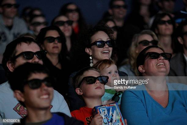Moviegoers watch a premiere of Clutch Powers while waring 3D glasses at Legoland California in Carlsbad California Movies in 3D are becoming such big...