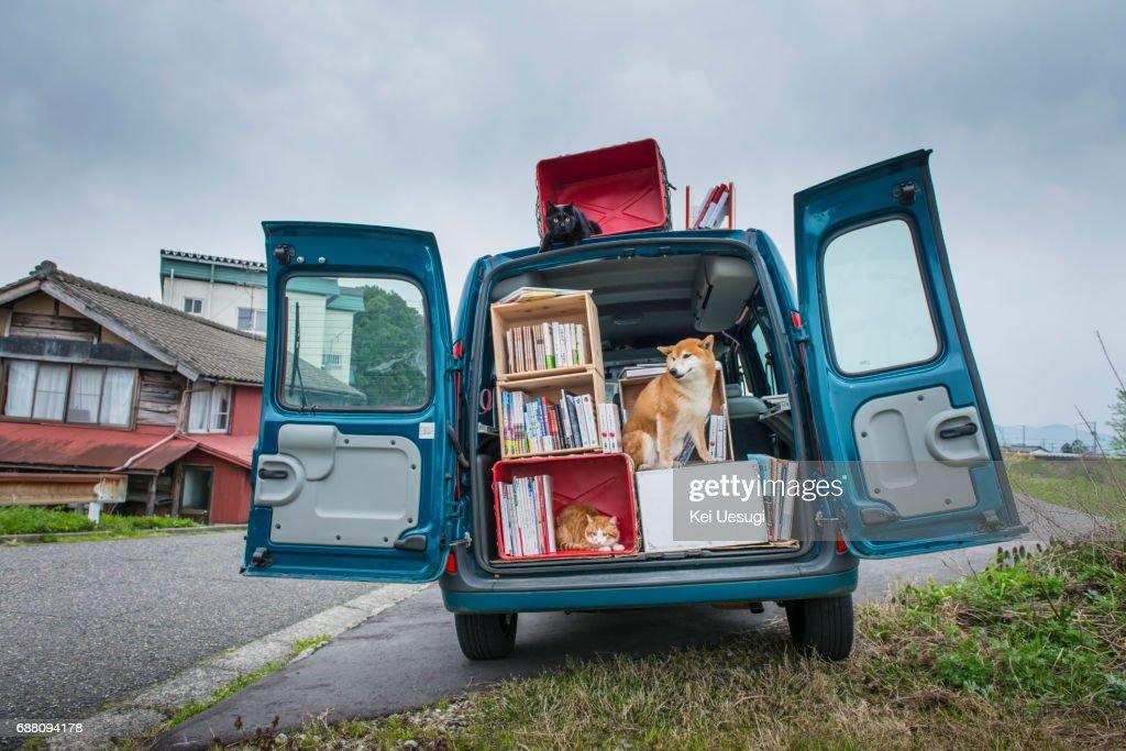 A moving Bookstore : Stock Photo