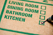 Moving box with checkmark on kitchen