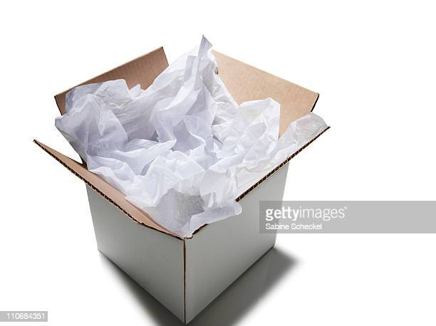 moving box with white tissue paper
