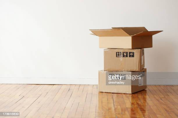 Moving boxes in a large empty room