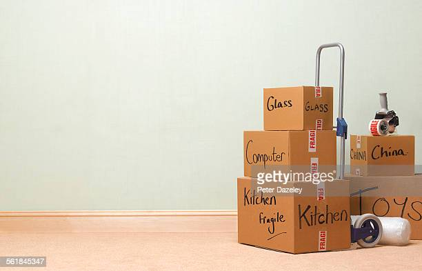 Moving boxes landscape with copy space