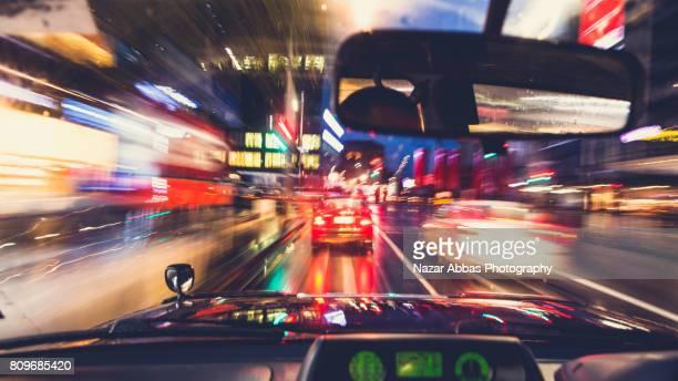 Moving Car In City Driver POV.