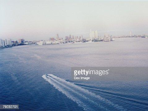 Moving cruise, aerial view, Tokyo Bay, Japan : Stock Photo