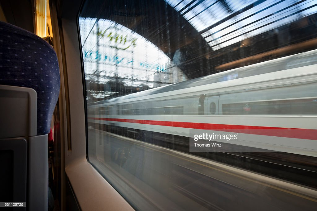 Moving ICE Train at Cologne Trai Station
