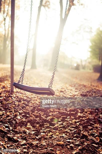 A moving swing in last sun light in autumn.