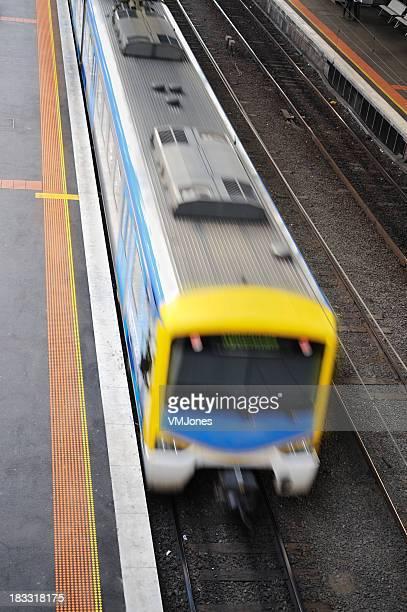Moving Train on Platform Melbourne