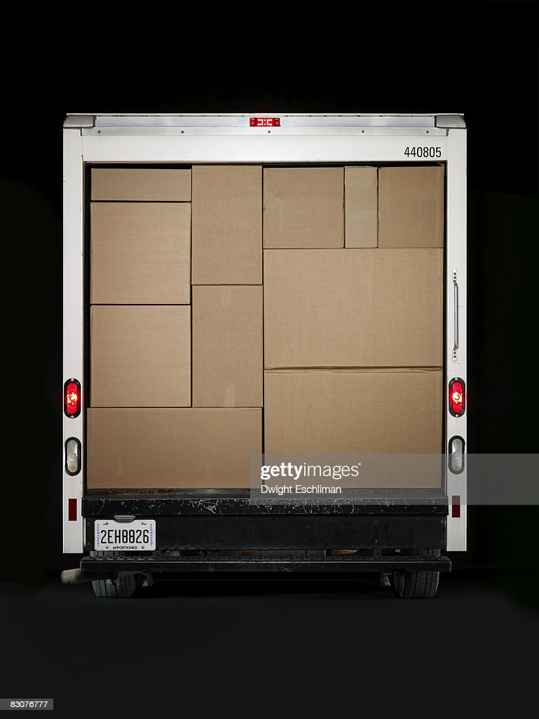 A moving van full of boxes