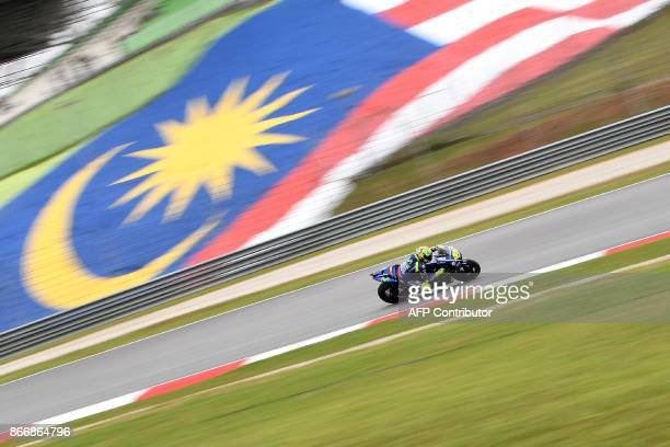 TOPSHOT Movistar Yamaha Italian rider Valentino Rossi powers his bike during the first practice session of the Malaysia MotoGP at the Sepang...