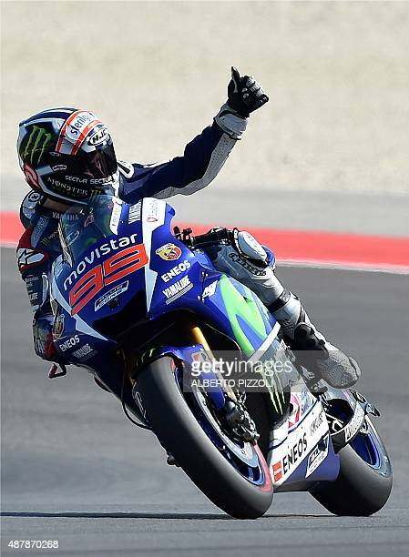 Movistar Yamaha MotoGP Spanish rider Jorge Lorenzo after taking pole position in the qualifying session of the San Marino MotoGP in Misano Adriatico...
