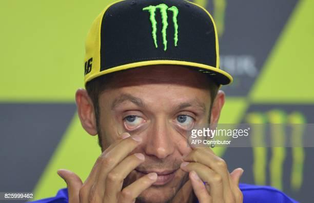 Movistar Yamaha MotoGP's Italian rider Valentino Rossi attends a press conference prior to the Moto GP Czech Grand Prix race in Brno Czech Republic...