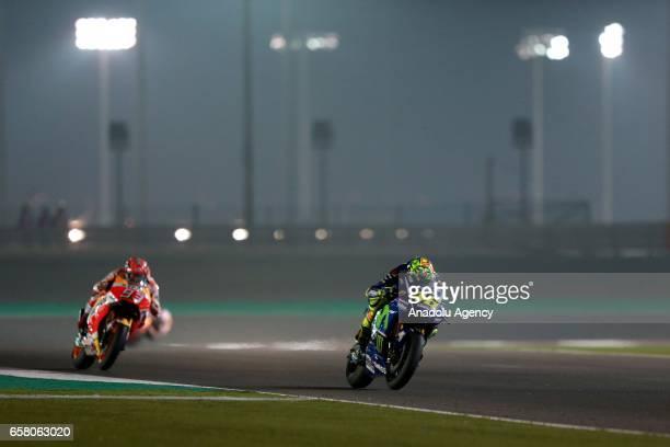 Movistar Yamaha MotoGP's Italian rider Valentino Rossi competes during the 2017 Qatar MotoGP at the Losail International Circuit north of the capital...