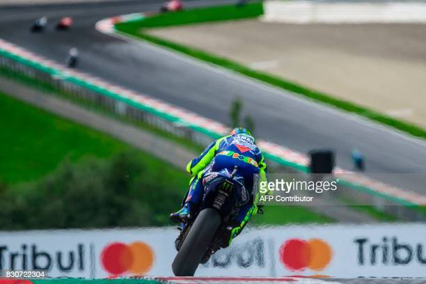 Movistar Yamaha MotoGP's Italian rider Valentino Rossi competes during the qualifying session of the MotoGP Austrian Grand Prix weekend at Red Bull...