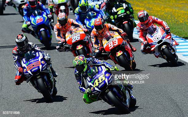 Movistar Yamaha MotoGP's Italian rider Valentino Rossi leads after the start of the Spanish Moto Grand Prix at the Jerez racetrack in Jerez de la...