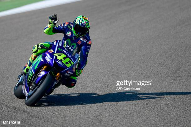 Movistar Yamaha MotoGP's Italian rider Valentino Rossi rides during the Moto GP third free pratice of the Moto Grand Prix of Aragon at the Motorland...