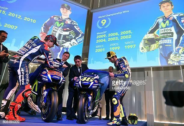 Movistar Yamaha MotoGP's Spanish rider Jorge Lorenzo and Movistar Yamaha MotoGP's Italian rider Valentino Rossi unveil their Yamaha MotoGP YZRM1...
