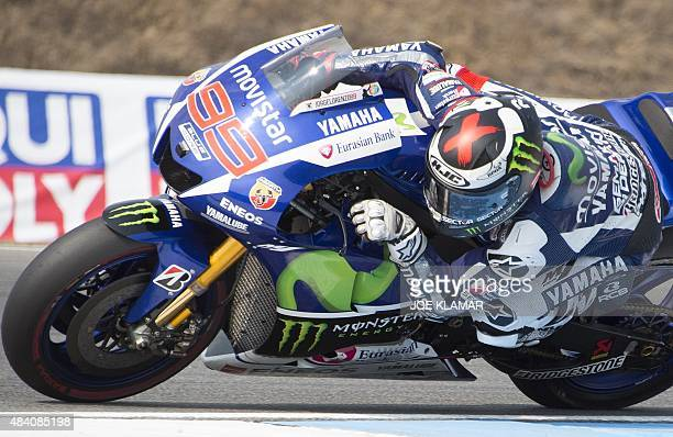 Movistar Yamaha MotoGP's Spanish rider Jorge Lorenzo rides his motorbike during the third free practice session of the Moto GP Czech Grand Prix in...