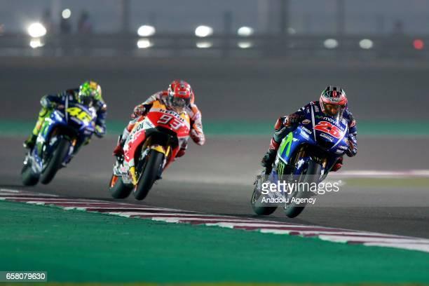 Movistar Yamaha MotoGP's Spanish rider Maverick Vinales competes during the 2017 Qatar MotoGP at the Losail International Circuit north of the...