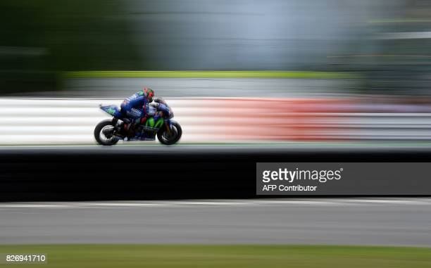 Movistar Yamaha MotoGP's Spanish rider Maverick Vinales competes during the MotoGP event of the Grand Prix of the Czech Republic in Brno on August 6...