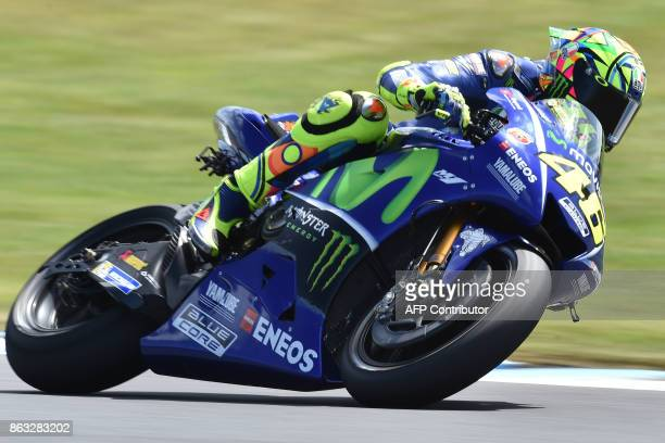 Movistar Yamaha rider Valentino Rossi of Italy competes during the first practice session of the Australian MotoGP Grand Prix at Phillip Island on...