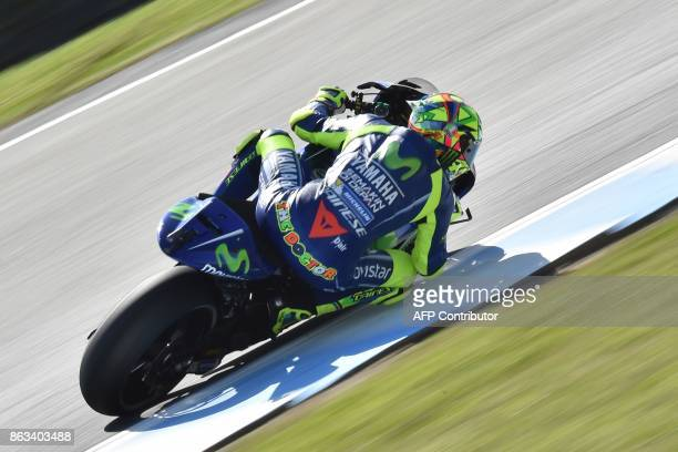 Movistar Yamaha rider Valentino Rossi of Italy powers through a corner during the second practice session of the Australian MotoGP Grand Prix at...