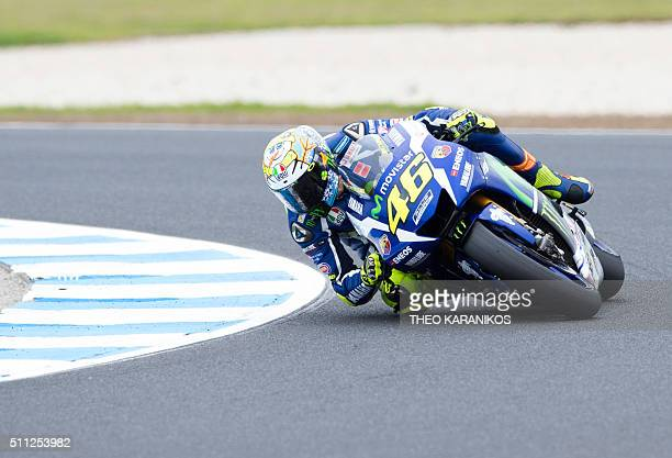 Movistar Yamaha's Italian rider Valentino Rossi takes a corner during the third day of the 2016 preseason MotoGp motorcycling test on Phillip Island...