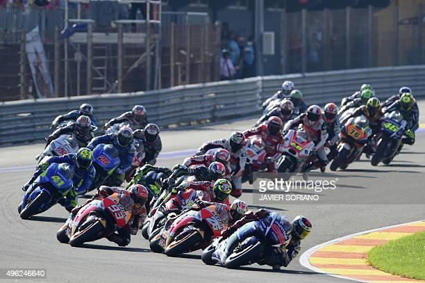 Movistar Yamaha's Spanish rider Jorge Lorenzo leads the start during the MotoGP motorcycling race at the Valencia Grand Prix at Ricardo Tormo...