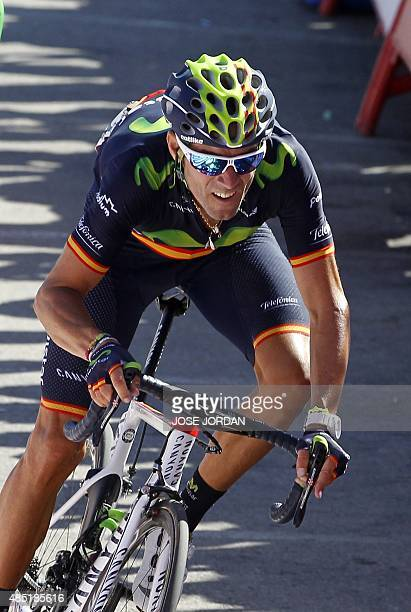 Movistar's Spanish cyclist Alejandro Valverde crosses the finish line to win the fourth stage of the 2015 Vuelta Espana cycling tour a 2136 Km stage...