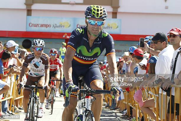 Movistar's Spanish cyclist Alejandro Valverde rides before the fourth stage of the 2015 Vuelta Espana cycling tour a 2136 Km stage between Estepona...