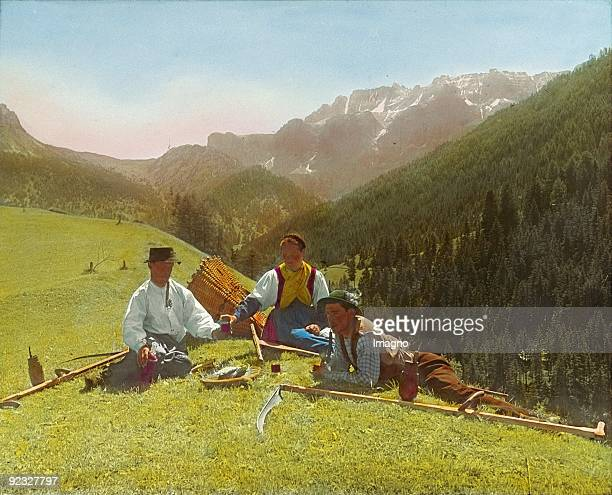 Mower taking a break Styria Handcolored lantern slide Around 1910