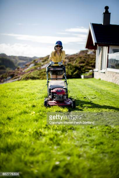 Mowing the grass