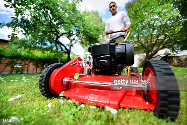 Mowing the lawn in nice green garden.