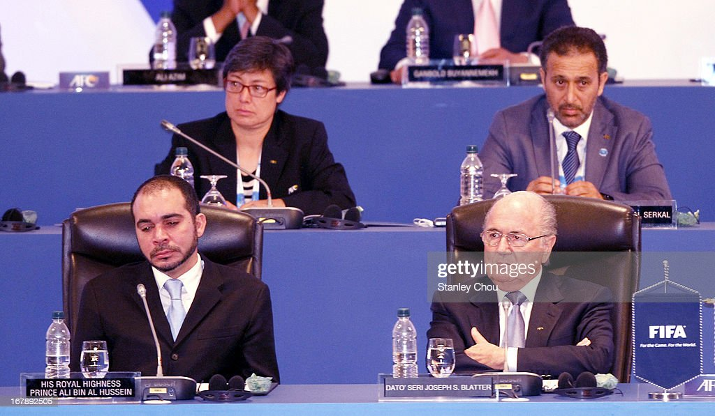 Moya Dodd (top left) AFC Vice-President from Australia, Yousuf Yaqoob Yousuf Al Serkal AFC Vice-President from UAE, HRH <a gi-track='captionPersonalityLinkClicked' href=/galleries/search?phrase=Prince+Ali+Bin+Al+Hussein&family=editorial&specificpeople=160174 ng-click='$event.stopPropagation()'>Prince Ali Bin Al Hussein</a> (bottom left) FIFA Vice- President from Jordan and Joseph <a gi-track='captionPersonalityLinkClicked' href=/galleries/search?phrase=Sepp+Blatter&family=editorial&specificpeople=209372 ng-click='$event.stopPropagation()'>Sepp Blatter</a> FIFA President attend the 2013 AFC Congress at the Mandarin Oriental Hotel on May 2, 2013 in Kuala Lumpur, Malaysia.