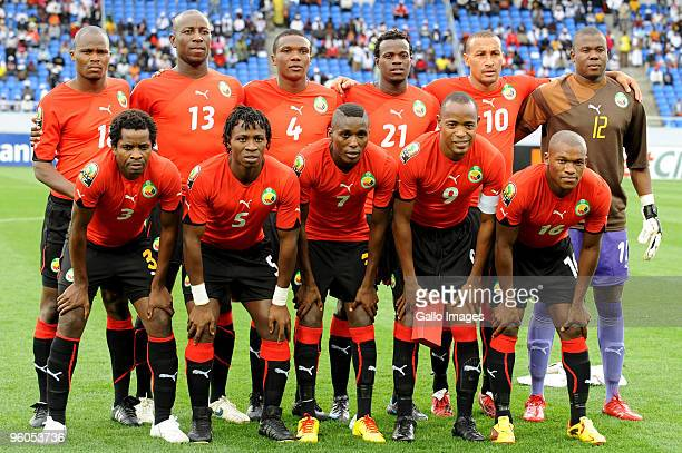 Mozambique team during the African Nations Cup Group C match between Nigeria and Mozambique at the Alto da Chela Stadium on January 20 2010 in...