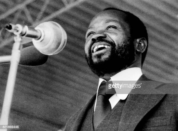 Mozambique's President Samora Machel speaks to Mozambique people gathered in the Machava stadium to celebrate the first anniversary of their...