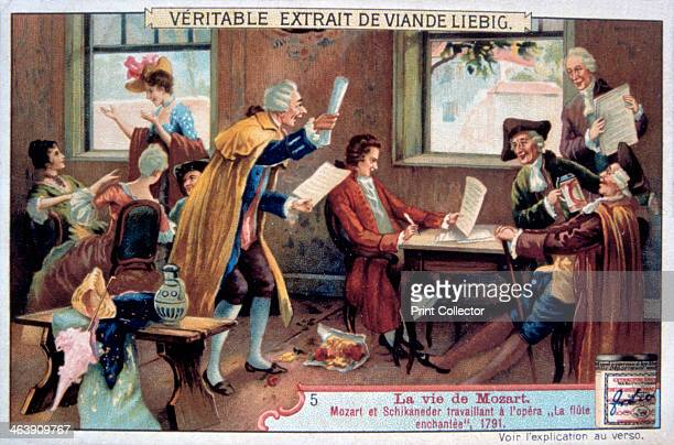 Mozart working on his opera The Magic Flute Austrian composer Wolfgang Amadeus Mozart and Emanuel Schikaneder the librettist working on The Magic...