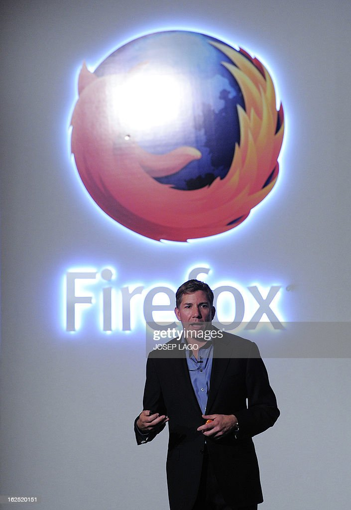 Mozilla's Chief Executive Officer (CEO) Gary Kovacs gives a press conference to present the new Firefox OS mobile operating system in Barcelona on February 24, 2013, a day before the start of the 2013 Mobile World Congress. The 2013 Mobile World Congress, the world's biggest mobile fair, is held from February 25 to February 28 in Barcelona.