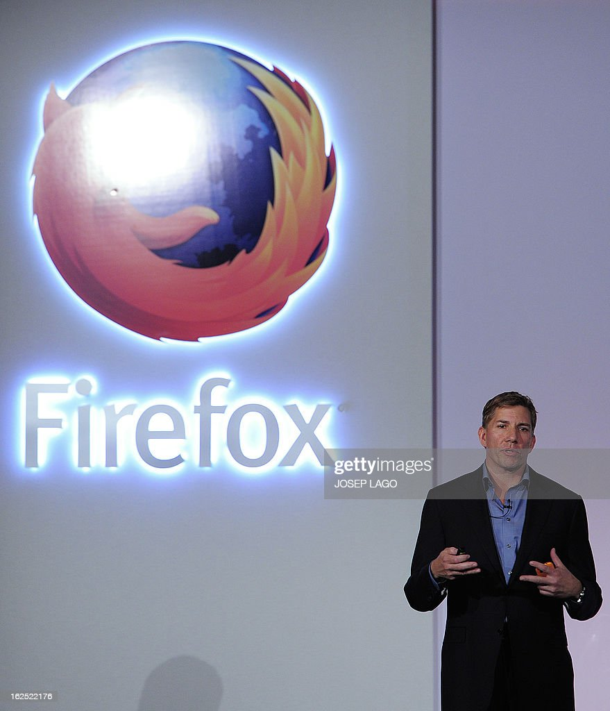 Mozilla's Chief Executive Officer (CEO) Gary Kovacs gives a press conference to present the new Firefox OS mobile operating system in Barcelona on February 24, 2013, a day before the start of the 2013 Mobile World Congress. The 2013 Mobile World Congress, the world's biggest mobile fair, is held from February 25 to February 28 in Barcelona. AFP PHOTO / JOSEP LAGO