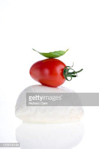 Mozzarella, basil and tomato : Stock Photo
