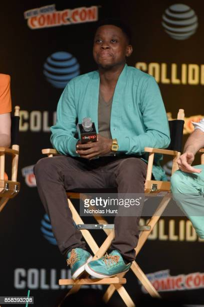 Mpho Koaho speaks onstage during the Dirk Gently's Holistic Detective Agency BBC AMERICA Official Panel during 2017 New York Comic Con on October 6...